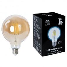 Лампочка светодиодная филаментная E27-8W-G125-WW-fil gold_lb